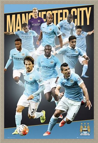 Framed Framed Team Players 2015/16 - Manchester City Football Club
