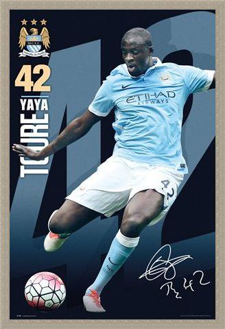 Framed Framed Yaya Toure 15/16 - Manchester City Football Club