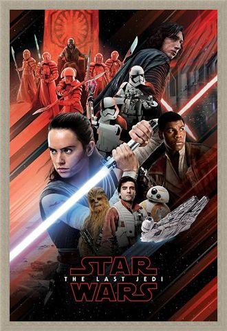 Framed Framed The Last Jedi Red Montage - Star Wars