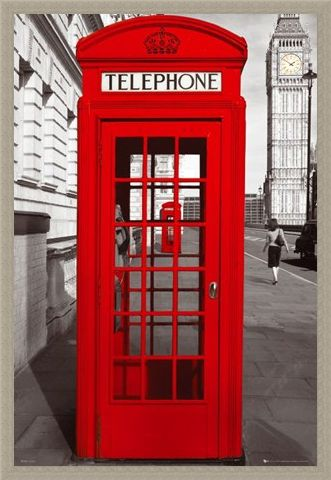 Framed Framed Red Telephone Box - English Iconography