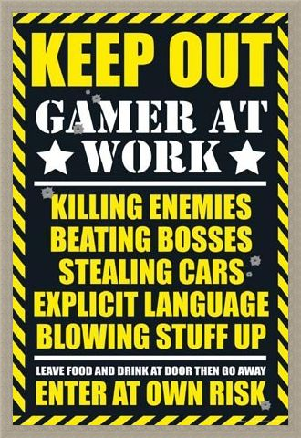 Framed Framed Keep Out - Gamer at Work - Gaming Keep Out Leave Food At The Door