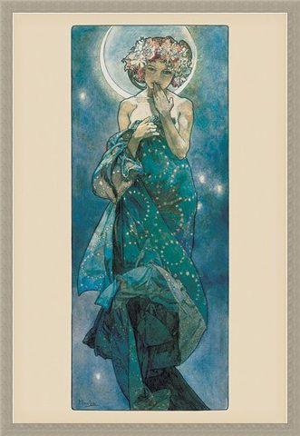 Framed Framed Moon - By Alphonse Marie Mucha