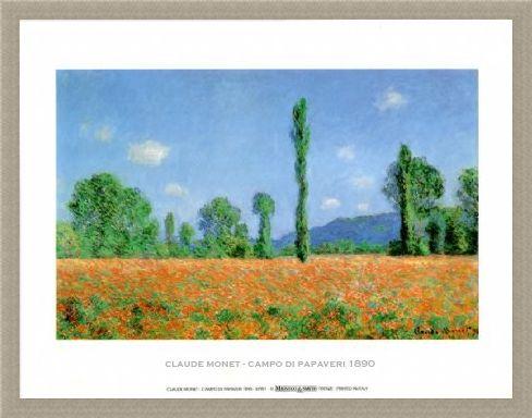 Framed Framed Poppy Field - Claude Monet