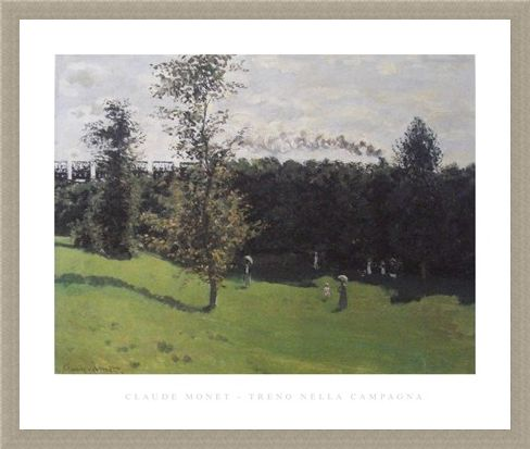 Framed Framed Train in the Countryside - Claude Monet