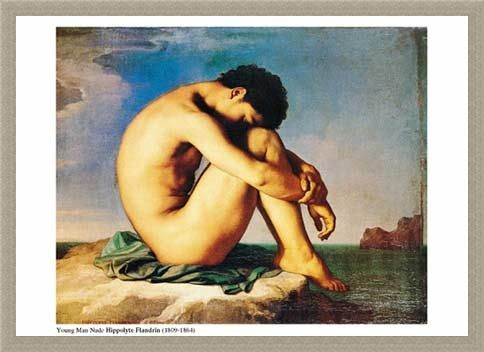 Framed Framed Young  Man Nude, Sits by the Sea - Jean-Hippolyte Flandrin