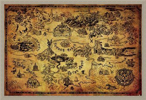 Framed Framed Hyrule Map - The Legend Of Zelda