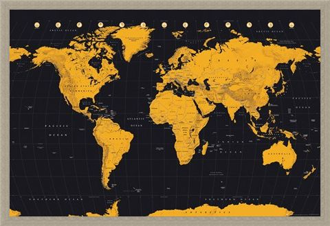 Framed Framed Black And Gold - World Map