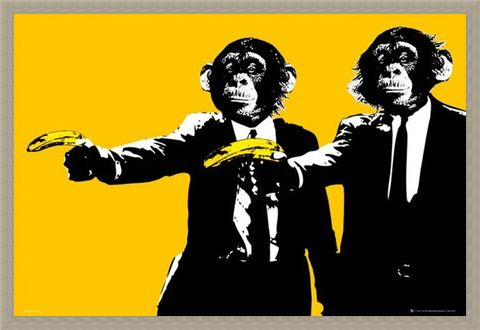Framed Framed Hands Up! - Monkeys With Bananas