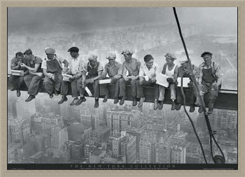Framed Framed Men on a Girder Having Lunch - New York City Collection