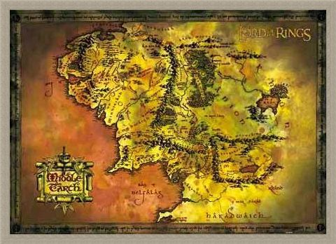 Framed Framed Middle Earth Map - Lord of the Rings