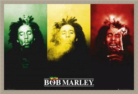 Framed Framed Ganja in Green, Red and Gold - Bob Marley