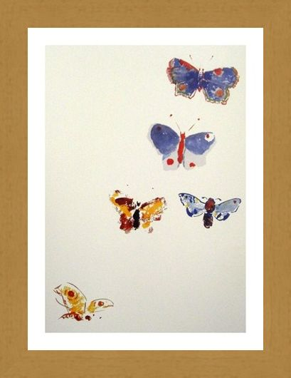 Framed Framed Five Butterflies - Odilon Redon