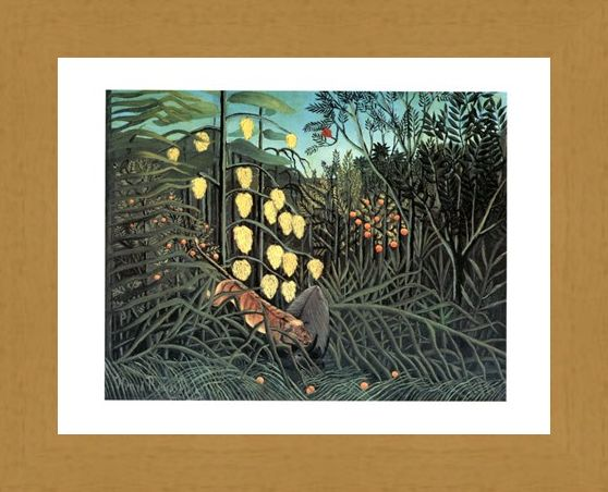 Framed Framed Giungla Con Bufalo Assalito Da Una Tigre - Henri Rousseau
