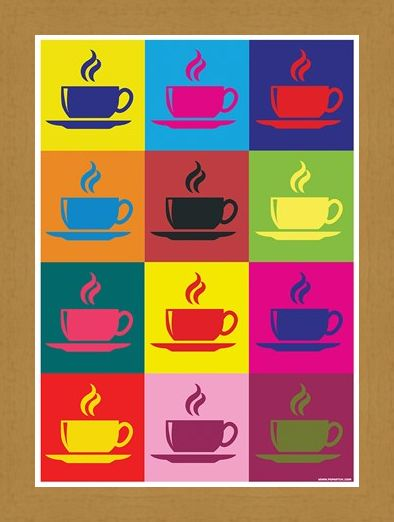 Framed Framed Coffee Kaleidoscope - Pop Art Percolator