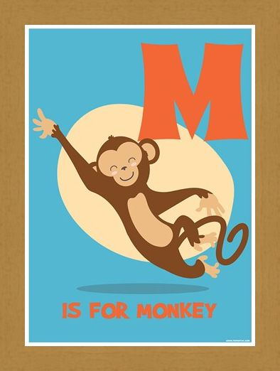 Framed Framed M Is For Monkey - Learning For Children