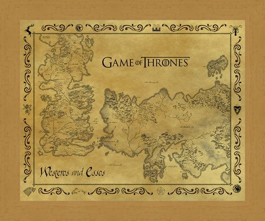 Framed Framed Antique Map Of Westeros & Essos - Game Of Thrones
