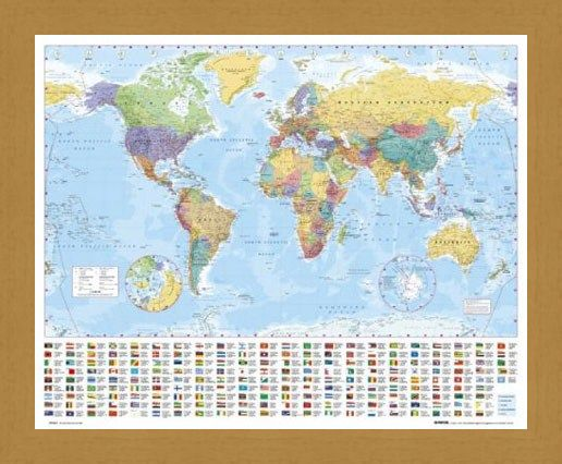 Framed Framed World Map with Flags - Map of the World