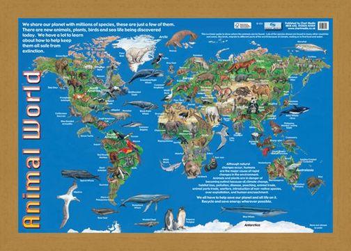 Animals of the world animal world map poster buy online framed framed animals of the world animal world map gumiabroncs Choice Image