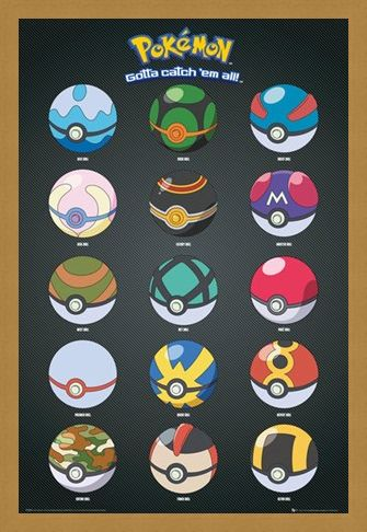 Framed Framed Pokeballs - Pokemon