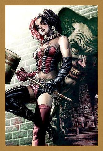 Framed Framed Harley Quinn Joker Shadow - Batman DC Comics