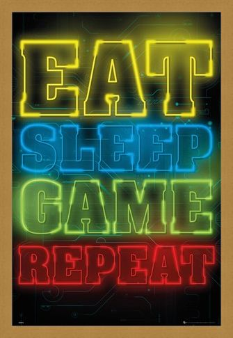 Framed Framed Eat Sleep Game Repeat - Gaming