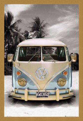 Framed Framed Californian Camper Van - VW on the Beach