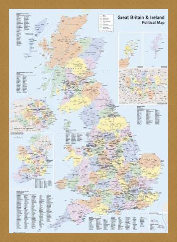 Framed Framed UK & Ireland - Political Map