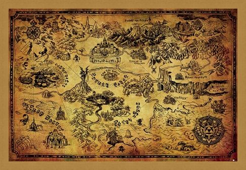 Framed Framed Hyrule Map - The Legend Of Zelda