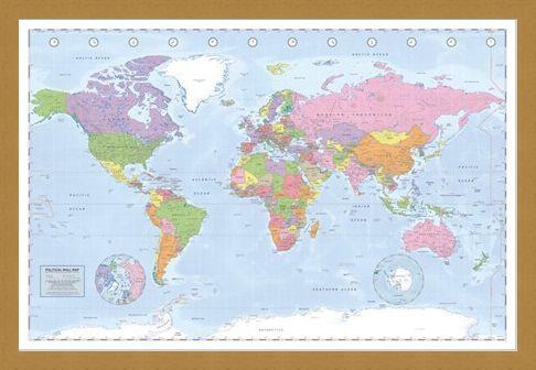 Framed Framed Political World Map - Miller Projection