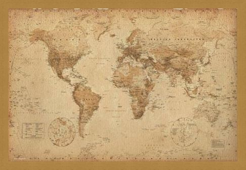 Framed Framed Antique Style Map - Geographical World Map