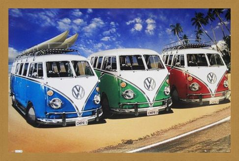 Framed Framed Camper Van Trio On The Shoreline - Volkswagens On The Beach