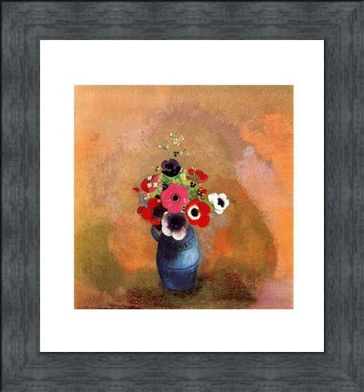 Framed Framed Bouquet of Anemones - Odilon Redon