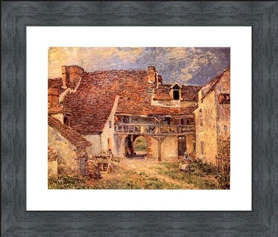 Framed Framed La Cour De Ferme - Alfred Sisley