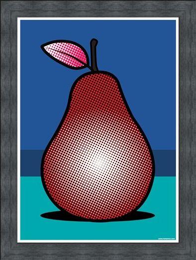 Framed Framed A Pop Art Pear - Red Fruit