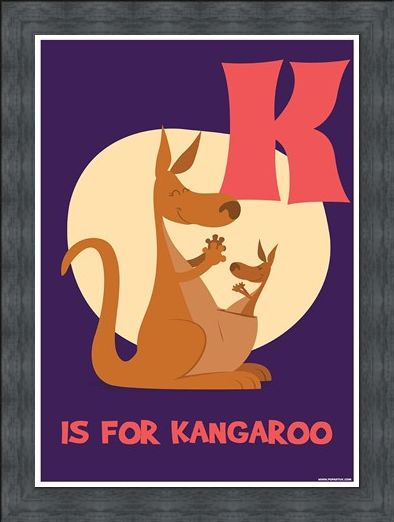 Framed Framed K Is For Kangaroo - Animal Alphabet
