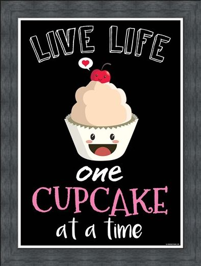 Framed Framed Cheeky Treat - Live Life One Cupcake At A Time