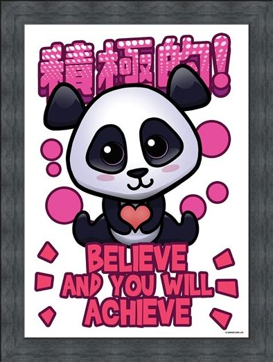Framed Framed Believe & You Will Achieve Mini Poster - Handa Panda