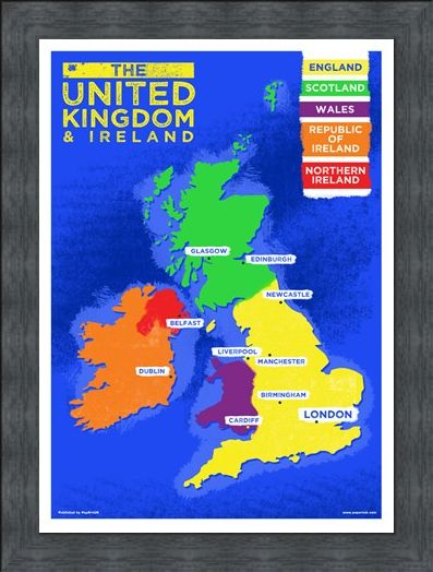 Framed Framed UK & Ireland Country Map - Colourful Countries