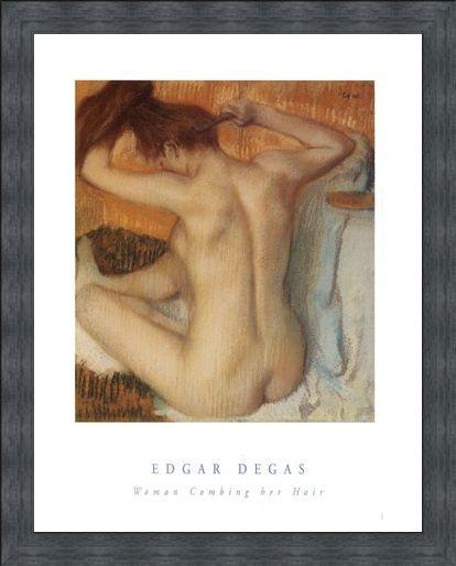 Framed Framed Woman Combing her Hair - Edgar Degas