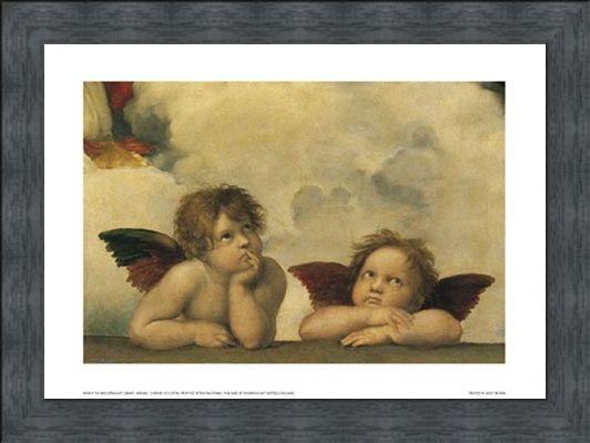 Framed Framed Cherubs (detail from Sistine Madonna) - Raphael