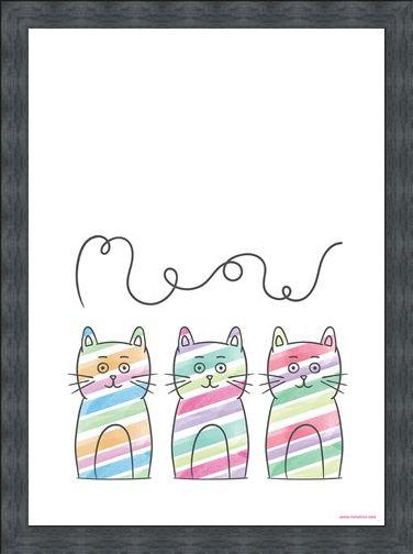 Framed Framed Meow - Stripy Trio