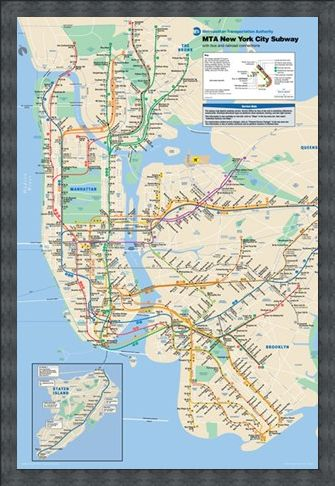 Framed Framed New York Subway - Subway Map of New York