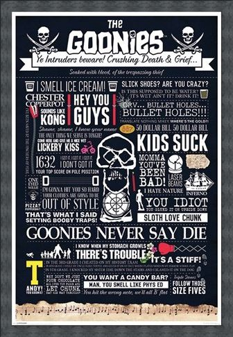 Framed Framed Intruders Beware - The Goonies Typographic