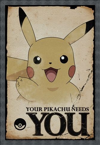 Framed Framed Pikachu Needs You - Pokemon
