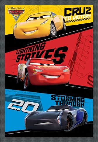 Framed Framed Red, Blue & Yellow Trio - Cars 3