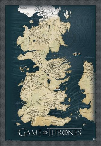 Framed Framed The Seven Kingdoms of Westeros Map - Game of Thrones