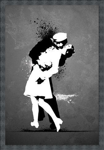 Framed Framed War's End Kiss - Love in Black and White