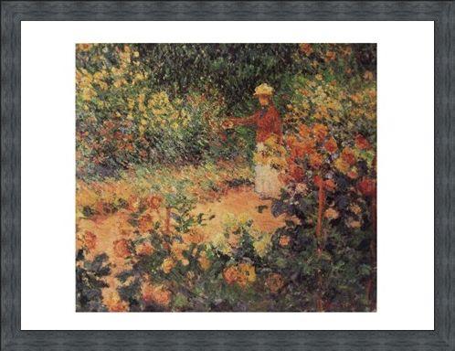 Framed Framed Artist in the Garden of Giverny - Claude Monet