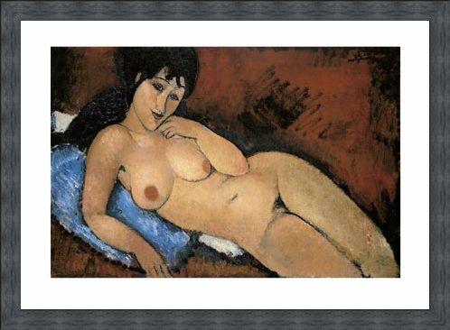 Framed Framed Nude on a Blue Cushion - Amedeo Modigliani