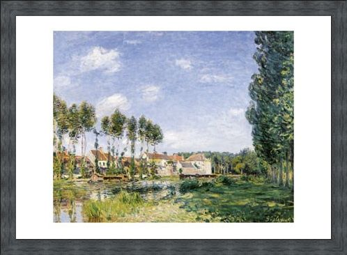 Framed Framed Moret, On the Banks of the  Loing - Alfred Sisley
